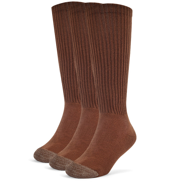 Galiva Boys' Cotton ExtraSoft Over the Calf Cushion Socks - 3 Pairs, Small, Brown