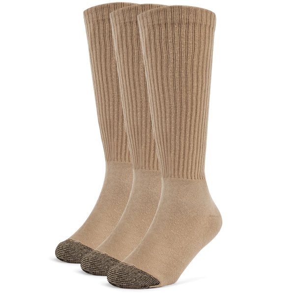 Galiva Boys' Cotton ExtraSoft Over the Calf Cushion Socks - 3 Pairs, Small, Nude Beige