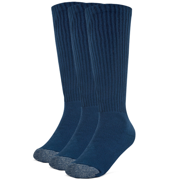 Galiva Boys' Cotton ExtraSoft Over the Calf Cushion Socks - 3 Pairs, Small,  Navy Blue