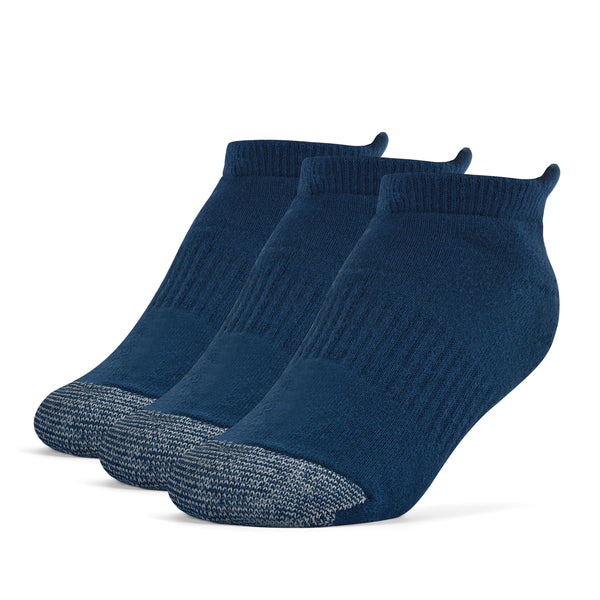 Galiva Boys' Cotton ExtraSoft No Show Cushion Socks - 3 Pairs, Small, Navy Blue