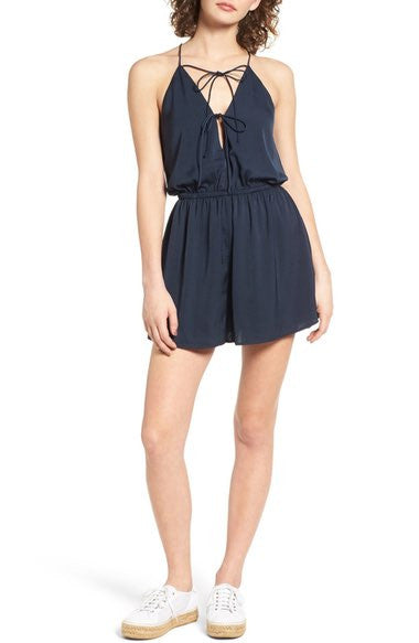 The Nightingale Playsuit in midnight navy from The Fifth Label
