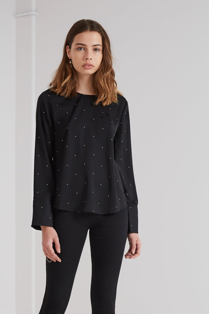 The New Wave Long Sleeve Top black and white polka dot from The Fifth Label