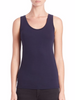 The scoop neck cotton tank in navy from Majestic Filatures