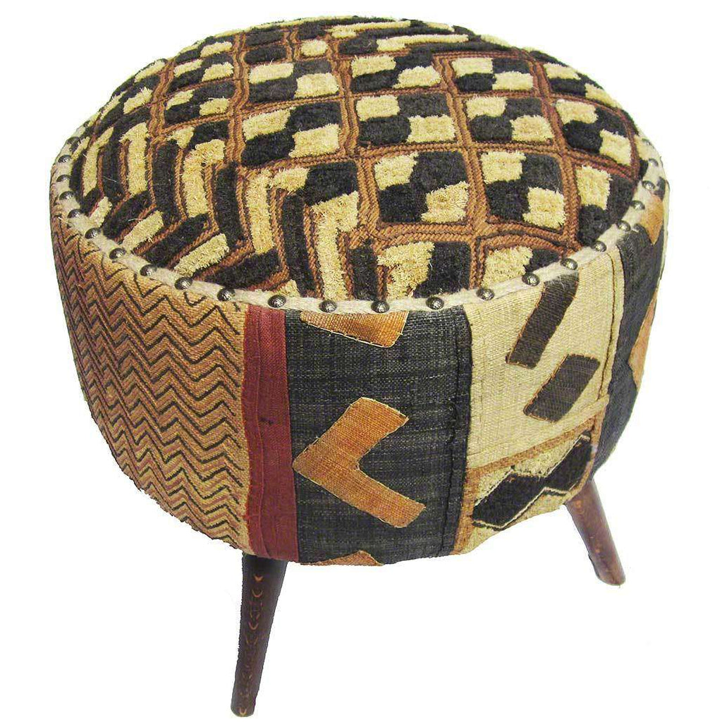 Congolese Kuba Cloth Upholstered Foot Stool #42,Kuba Cloth,,Ananse Village