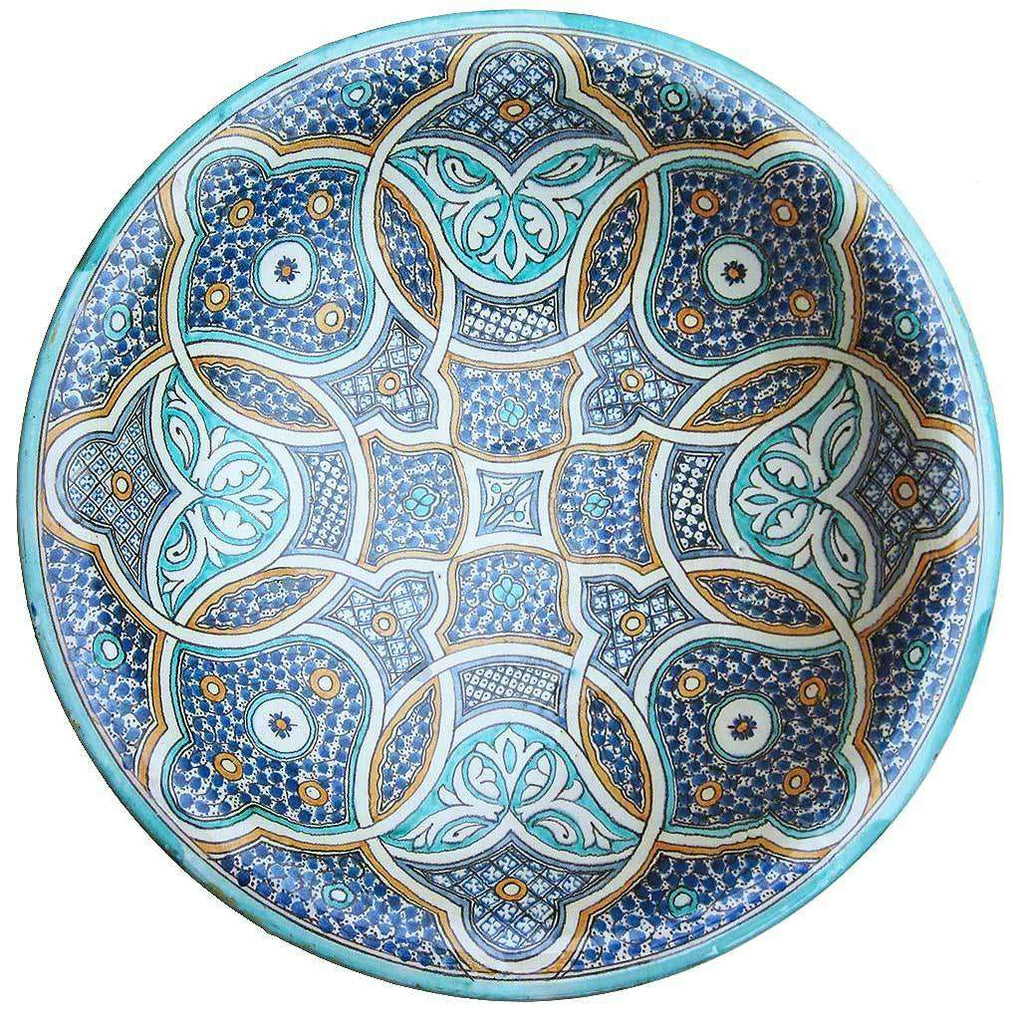 Large Hand-painted Ceramic Moroccan Dish #201