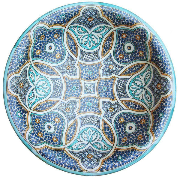 Large Hand-painted Ceramic Moroccan Dish #201,Moroccan Pottery,Ananse Village
