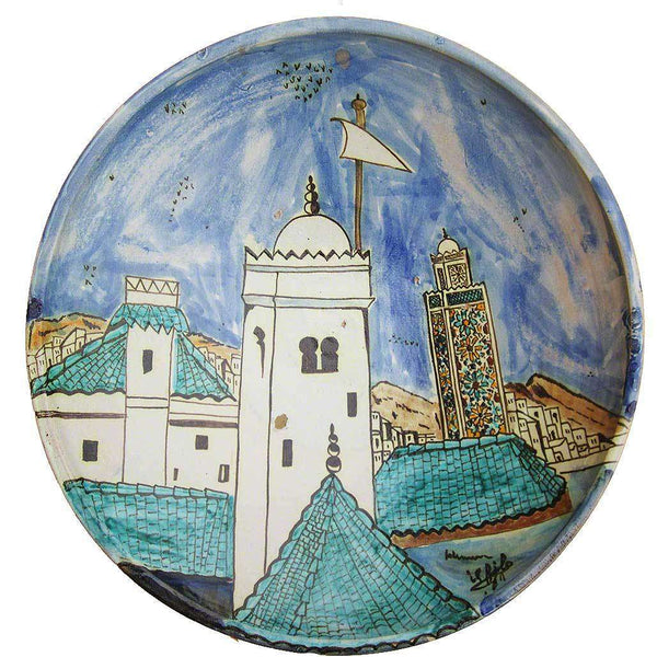 Large Hand-painted Ceramic Moroccan Dish #203