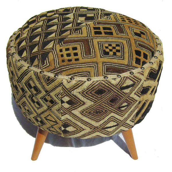 Congolese Kuba Cloth Upholstered Foot Stool #43,Kuba Cloth,,Ananse Village