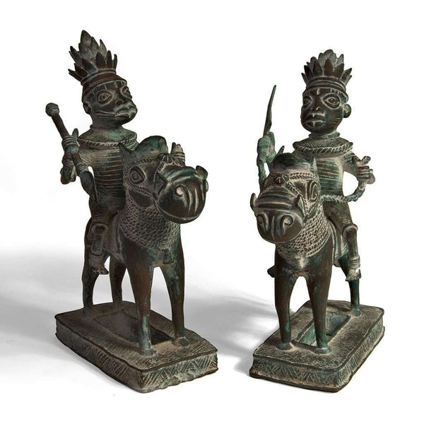 Benin Bronze Warriors on Horseback Vintage West African Art