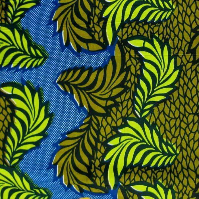 Bold Leaf Motif 100 Cotton African Wax Print Fabric