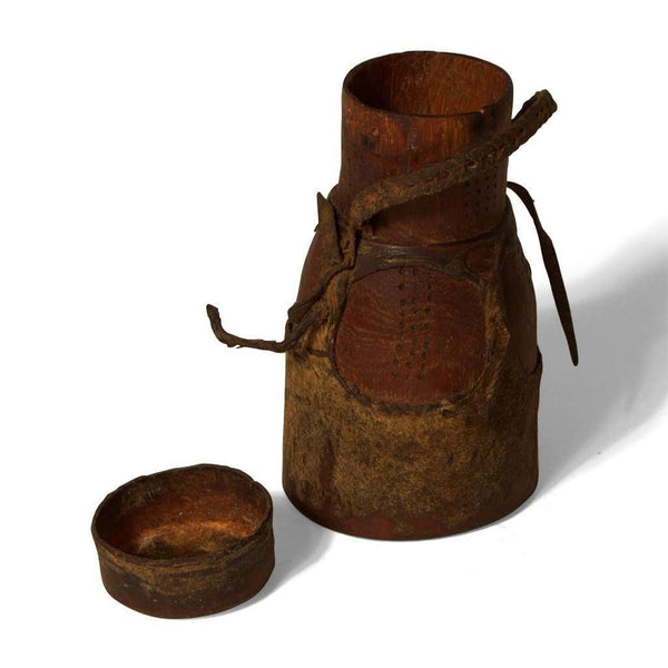 Vintage Wooden and Camel Leather Jar with Lid From Kenya #240,Wooden Container,Ananse Village