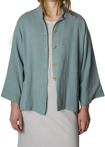 Powder Blue Cotton Jacket with Stone Buttons
