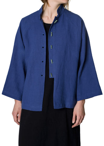 China Blue Cotton Jacket with Stone Buttons