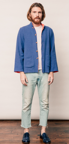 Double-face Orange and China Blue Linen Jacket with Stone Buttons