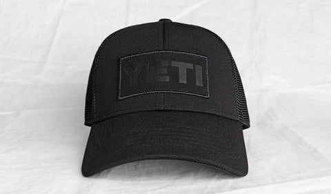 YETI Black on Black Patch Trucker Hat front view