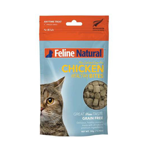 <b>Feline Natural</b><br>Chicken Healthy Bites<br><br>1.76 oz  - 50g