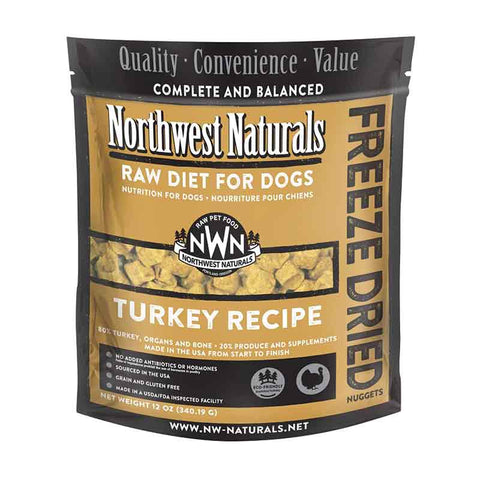 <b>Northwest Naturals</b><br>Freeze Dried Turkey Recipe Dog<br>340g - 12 oz