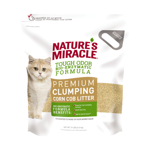 <b>Nature's Miracle</b><br>Premium Clumping Corn Cob Litter<br>10lb - 18lb