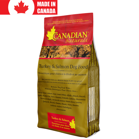<b>Canadian Naturals</b><br>Turkey and Salmon Formula<br><br>5lb - 30lb