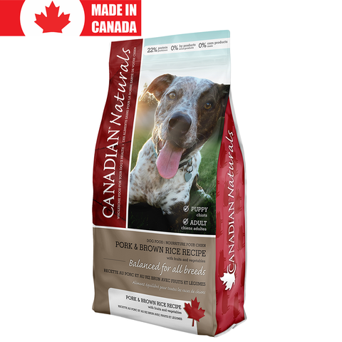 <b>Canadian Naturals</b><br>Pork & Brown Rice Recipe<br><br>5lb - 30lb