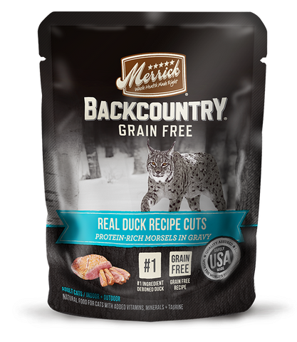 <b>Merrick</b><br>Backcountry Grain Free Real Duck Recipe Cuts<br>85g - 3oz