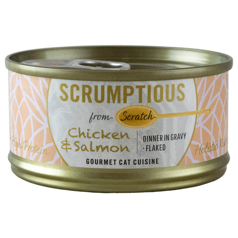 <b>Scrumptious</b><br>Chicken & Salmon Flaked<br><br>2.8oz - 80g