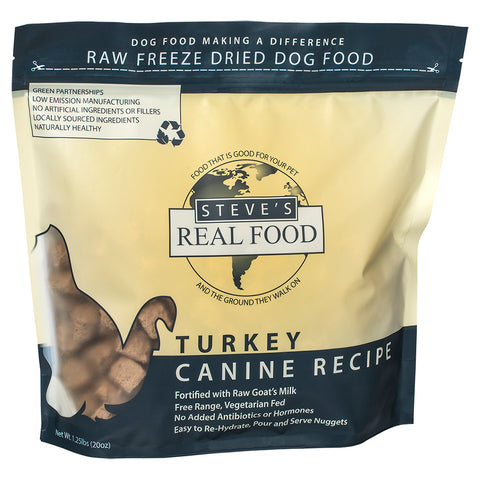 <b>Steve Real Food</b><br>Freeze Dried Turkey Diet<br><br>1.25lb - 566gr