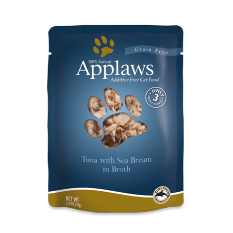 <b>Applaws</b><br>Tuna with Seabream<br><br>2.47oz - 70g