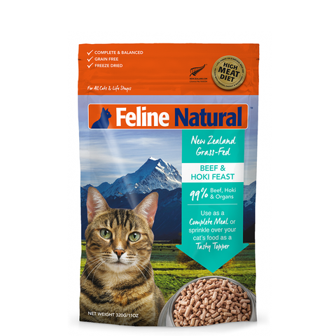 <b>Feline Natural</b><br>Beef & Hoki Feast<br><br>3.5oz - 11oz