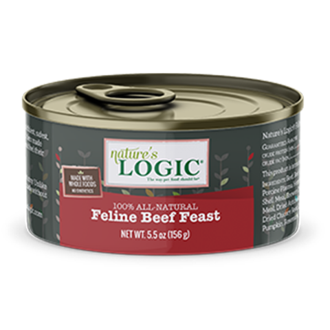 <b>Nature's Logic</b><br>Feline Beef Feast Wet<br><br>5.5oz - 155g