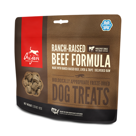 <b>Orijen</b><br>Ranch-raised Beef Dog<br><br>1.5oz - 3.25oz
