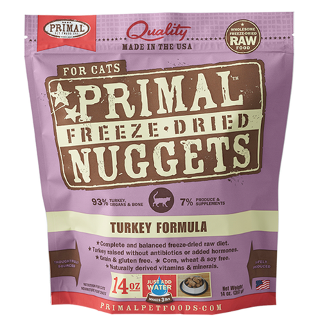 <b>Primal</b><br>Raw Freeze-dried Feline Turkey Formula<br>5.5oz - 14oz