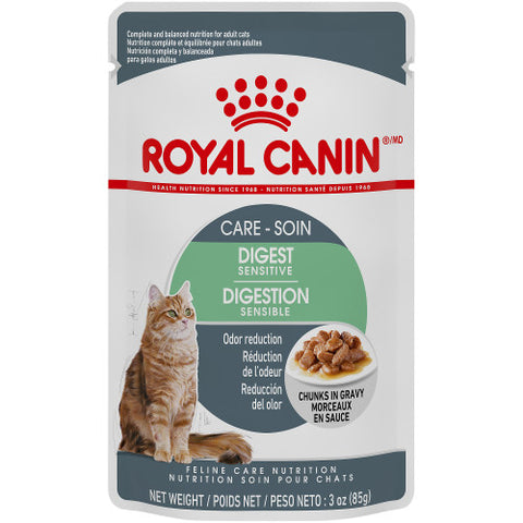 <b>Royal Canin</b><br>FCN Digest Sensitive - Chunks In Gravy Pouch<br><br>12/85g