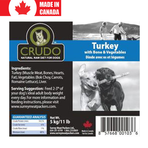 <b>Crudo</b><br>Turkey with Bone & Vegetables<br>5.5lb - 2.5kg
