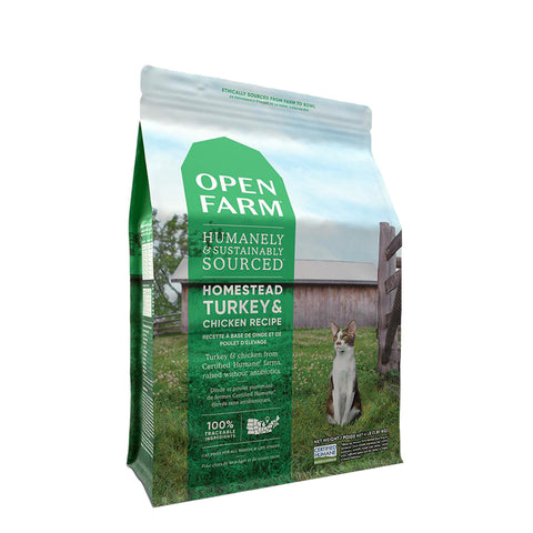 <b>Open Farm</b><br>Homestead Turkey & Chicken Dry Cat <br>4lb - 8lb