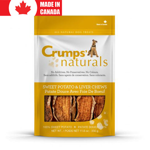 <b>Crumps</b><br>Sweet Potato Chews With Liver<br>5.6oz - 26oz