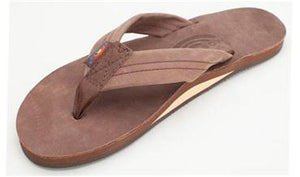 Rainbow Single Layer Premier Leather Sandal (Expresso)