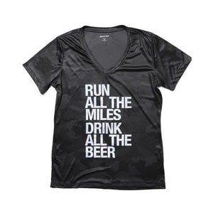 Sarah Marie Run All The Miles Drink All The Beer Performance T-Shirt