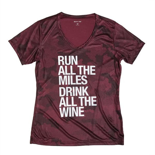 Sarah Marie Run All The Miles Drink All The Wine Performance T-Shirt