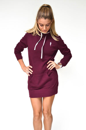 Sarah Marie Runner Girl Hoodie Dress (Maroon)