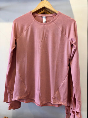 Oiselle Flyout Long Sleeve (Fast Pink/Smoke)