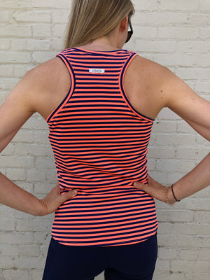 Oiselle Big Stripe Tank (Snap/Grounded)