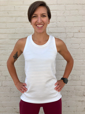 Oiselle Big Stripe Tank (Fresh/White)