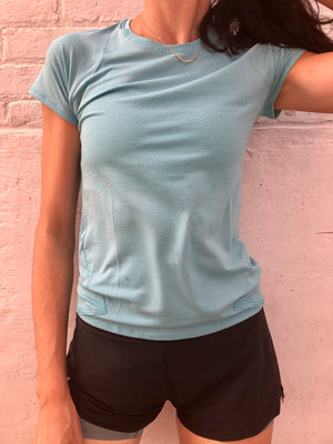 Oiselle Flyout Short Sleeve (Fresh/BB Blue)