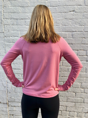 Oiselle Striped Mile One Pullover (Blaze/Smoke)