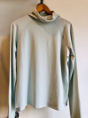 Oiselle Striped Mile One Pullover (Quiet Green/White)