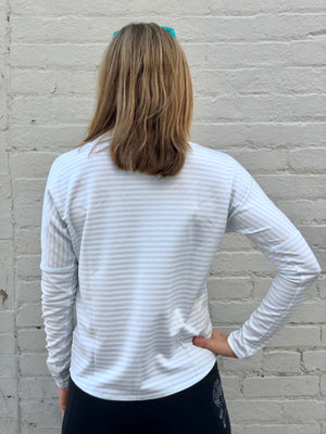 Oiselle Big Stripe Mock Neck (Fresh/White)