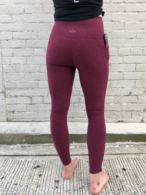 Beyond Yoga Spacedye Subtle Zip Midi Legging (Team Burgundy)