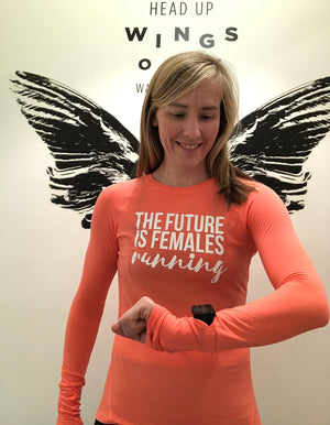 Oiselle Flyout Long Sleeve X TFIF Running (Snap/Zinnia)