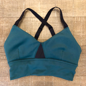 Oiselle Bird Hug Long Bra (Douglas Fir/Black)